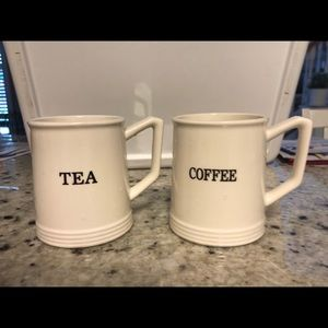 """Other - Set of Two Farmhouse Mugs Cups """"Tea"""" """"Coffee"""""""